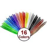 Uarter PLA Printing Pen Filament Filamentos de alta precisión de la impresora Recargas de filamento multicolor de la pluma para 1.75mm Plumas de impresión 3D, cada color 20 pies de longitud, longitud total de 320ft