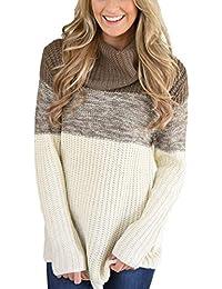 Aleumdr Mujer Suéter Mangas largas Jersey Cuello Alto Pulóver de Punto para Mujer Size S-XXL