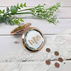 Geschenk Trauzeugin Brautjungfer Freundin Kosmetikspiegel mit Initial oder Name personalisiert rosegold silber