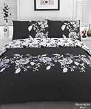 Kensington Black White King Size Duvet Quilt Cove Bedding Set