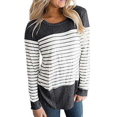 MRULIC Frauen Kurzarm Dreifach Farbe Block Streifen T-Shirt Casual Bluse Damen Shirt Weisse Bluse (EU-38/CN-M, T2-Dunkelgrau) -