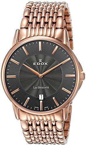 Edox Men's 56001 37RM GIR Les Bemonts Analog Display Swiss Quartz Rose Gold Watch