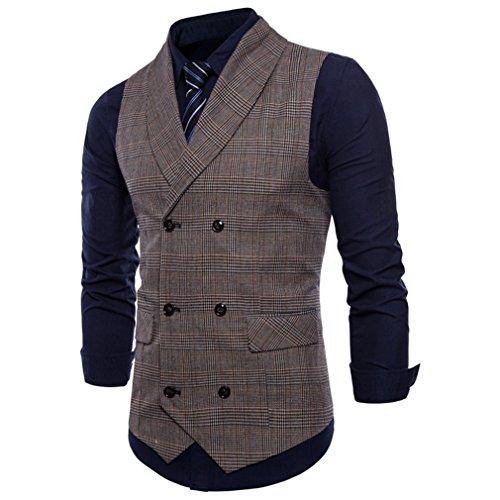 Mxssi Herren Weste British Casual Anzug Weste Männlich Zweireiher Weste Herren Tops Kleidung Kleid Slim Fit Weste Kaffee XL