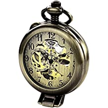 TREEWETO Steampunk Mechanical Pocket Watch For Men Women Bronze Case Skeleton Dial with Chain +Box