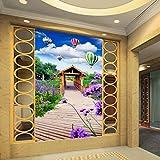 Xbwy Fototapete Holzbrücke Lavendel Hölzernen Pavillon 3D Stereo Eingang Wandgemälde Wohnzimmer Restaurant Tapete-400X280Cm