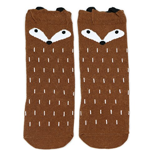 Dotty Fish - Kniestrümpfe Socken für Baby Jungen & Mädchen - Braune Fuchs - Klein / 6-12 Monate (Braune Kniestrümpfe)