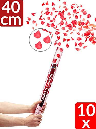 Partyjoker 10 Konfettikanone mit Rosenblätter 40cm für Hochzeit | Hohe Schussweite | Konfetti Shooter - Extra lauter Knall