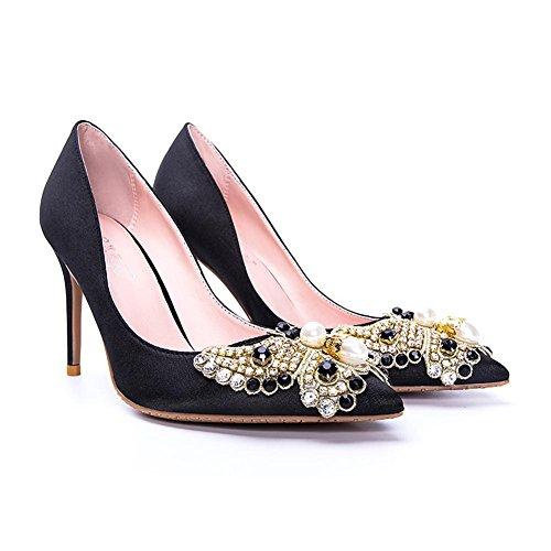 L@YC® Frauen High Heels Fine mit Diamanten 8cm Satin Spitzen Sandalen Office Dance Black