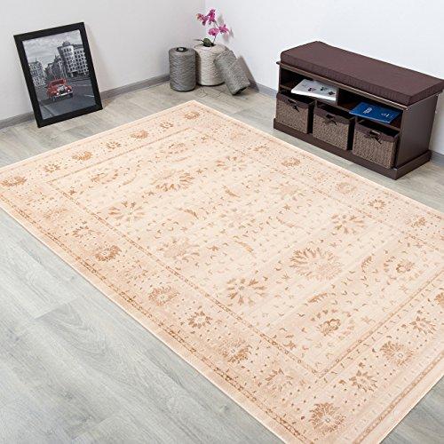 WOLLTEPPICH bester Qualität - Teppich aus Wolle ins Wohnizimmer mit Bordüre - Muster Ornamente Beige Braun - THEATRE COLLECTION 200 x 300 cm Home-theatre-teppich