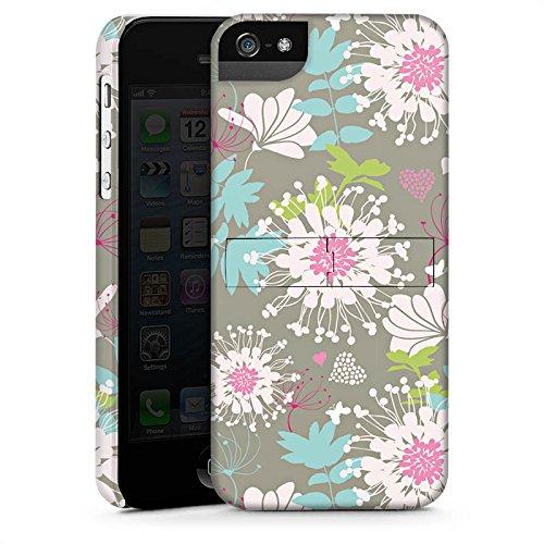 Apple iPhone 5s Housse Étui Protection Coque Fleurs Fleurs Déco CasStandup blanc