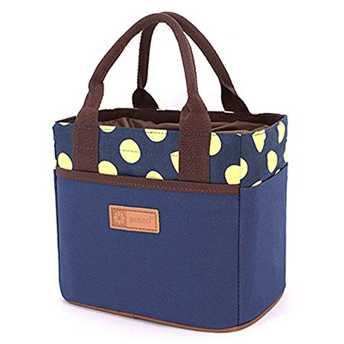 Leinwand Bento Mittagessen Tasche für Picknick Schule Büro Tote Mittagessen Tasche mit Seil Gürtel stilvoll (Blau&Gelb Punkt)