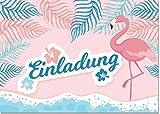 12 Einladungen Flamingo Ohne Text / Einladungskarten Kindergeburtstag Ohne Innentext Passt zu Geburtstag, Poolparty, Gartenparty, Cocktailparty, Gartenfest