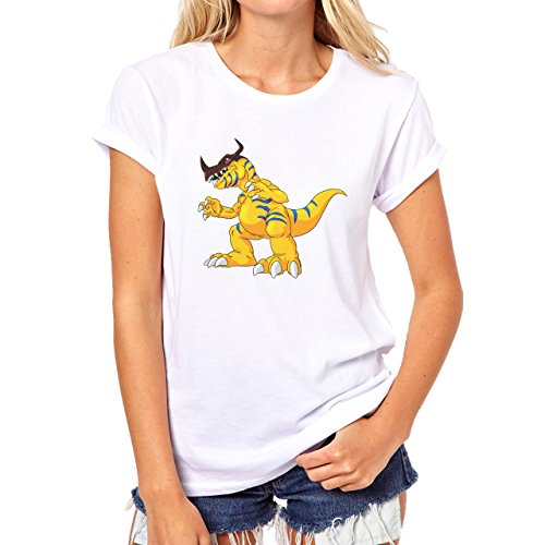 Digimon Agumon Greymon Wargreymon Wargreymon Light Yellow Damen T-Shirt Weiß