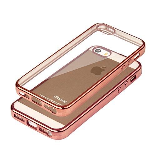 """Silikon TPU Chrom Case Schutz Hülle für iPhone 6 /6s Plus 5.5"""" Kupfer Metallic Handy Tasche transparentes Back Case mit buntem Rand Schutzhülle Crystal Gehäuserückseite Sparkles Bumper Kupfer + Glas"""