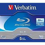 Verbatim 43715 BD-R 25GB 6X 5 Pack Jewel Case
