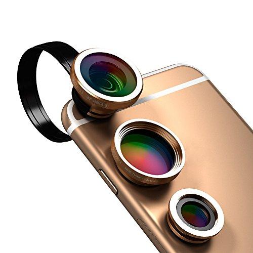 dodocool Kit de Lentes de Movíl 3 en 1 Clip-On con 180° Fisheye + 0.67X Gran Angular + 10X Cámara Macro lente para iPhone Samsung LG y otros Android Smartphones