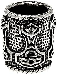 Bartperle Lockenperle aus Edelstahl, Design Thorshammer 8mm