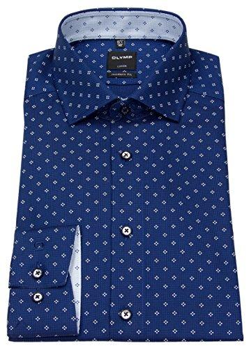 3765b459adb5 8. OLYMP Luxor modern fit Hemd Langarm New Kent Kragen Muster dunkelblau  Größe 42