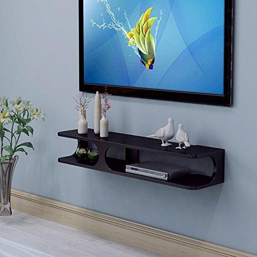"""Lagerregal ZHIRONG 2-Tier-moderne Wandhalterung Floating Veranstalter TV-Konsole 43,3""""x9.4"""" x7""""für DVD-Player/Kabel-Boxen/Router/Remotes/Spielkonsolen (weiß/schwarz) (Farbe : Schwarz)"""