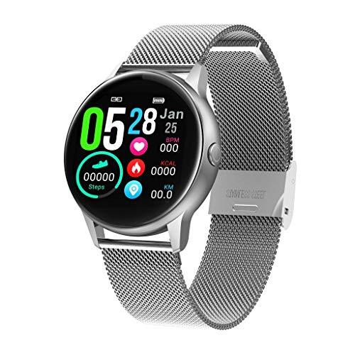 Fitness-Armband, Happy Event wasserdicht IP68 Fitness-Tracker mit Pulsmesser 1,22 Zoll Farbdisplay Activity Tracker Fitness-Uhr Pulsmesser Schrittzähler Uhr für Männer Damen (Silber)