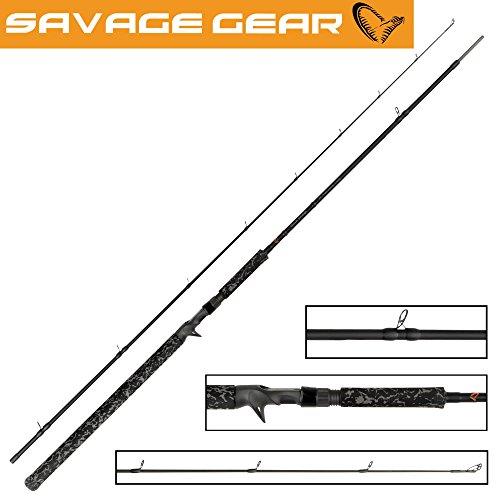 Savage Gear Black Savage Trigger 249cm 150g Spinnrute für Multirollen, Spinnruten, Rute für Hecht & Wels, Angelrute mit Triggergriff
