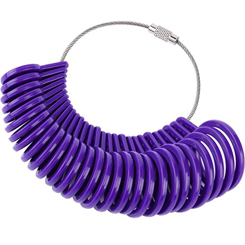 27 Pieces Plastic Ring Sizer Gauges A-Z Finger Sizer Measuring Ring Tool Jewellery Kit (Purple)