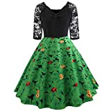 IZHH St Patrick's Day Ladies Dresses GrüNes Damen Half Sleeve GrüNes Klee-Retro Kleid Lace Patchwork Print Flare Dress Fashion St. Patrick TageskostüM Dress(Grün-2,Large)