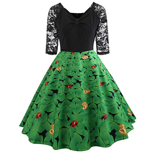 IZHH St Patrick's Day Ladies Dresses GrüNes Damen Half Sleeve GrüNes Klee-Retro Kleid Lace Patchwork Print Flare Dress Fashion St. Patrick TageskostüM Dress(Grün-2,XX-Large) - Klee Gelbes T-shirt