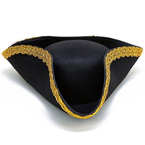 Toy Cubby Colonial tricorn Hut des 17. Jahrhunderts revolutionäre Krieg Piratenhut Kostümzubehör Parteibevorzugungs verkleiden Hut Single Pack schwarz mit Goldkante