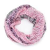 MANUMAR Loop-Schal für Damen   Hals-Tuch in pink schwarz mit Animal Print Motiv als perfektes Herbst Winter Accessoire   Schlauchschal   Damen-Schal   Rundschal   Geschenkidee für Frauen und Mädchen