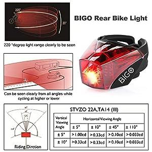 BIGO Luz Trasera para Bicicleta Recargable USB StVZO Super Brillante Rojo Luz LED Bici Impermeable Faro Trasero Bici para Máxima Seguridad de Ciclismo