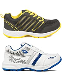 Redon Men's Pack Of 2 Sports Running Shoes (Running Shoes, Jogging Shoes, Gym Shoes, Walking Shoes) - B074HHC9MW