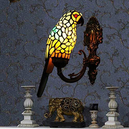 W-LI Retro Glasmalerei Wandleuchte Mehrfarbiger Papagei Schatten Wandleuchten Korridor Salon Gallery Wall Light-Blue 19X34Cm -