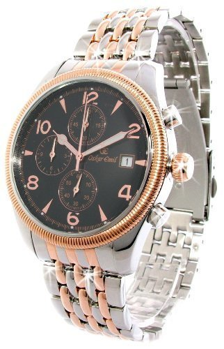 Oskar Emil Gents Fribourgh 23K Gold Steel Chronograph Watch with Black Dial