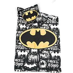 DC COMICS BATMAN Juego de ropa de cama–funda de edredón Reversible 140x 200cm + funda de almohada de 63x 63cm, microfibra–Oeko-Tex–Batman DC Comics