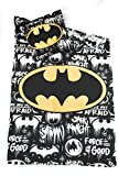 DC COMICS BATMAN Bettwäsche–Bettbezug wendbar 140x 200cm + Kopfkissenbezug 63x 63cm, Mikrofaser–Öko-Tex–Batman DC Comics