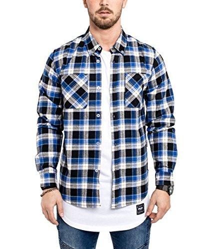 Phoenix Button Down Herren Flanell Hemd Blau Weiß Karohemd Kariert - M (Blau Kariertes Flanell-hemd)