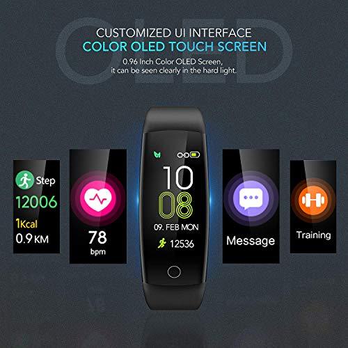 Imagen de agptek pulsera de actividad inteligente impermeable ip67 para hombre y mujer, c30 reloj deportivo con gps, monitor de ritmo cardíaco, calorías y sueño, compatible con iphone y android, negro alternativa