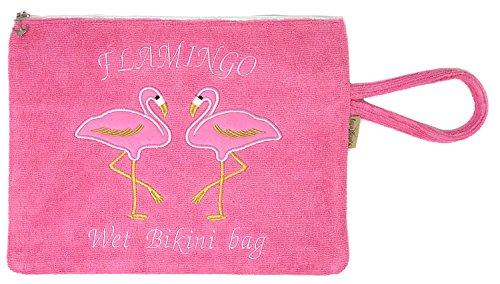 Crown Wasserfeste Strand-Bikini-Tasche mit Handschlaufe, Flamingo-HPK