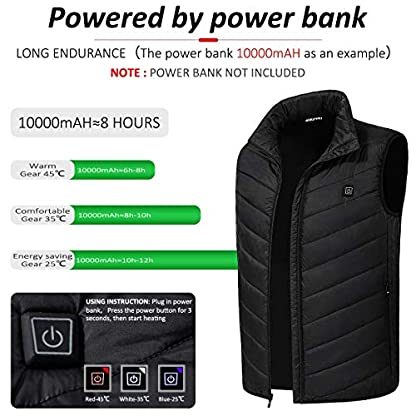 Freefa Electric Heated Vest USB Lightweight Size Right 5 Heating Zones Water Wind Resistant with Touchscreen Glove 4