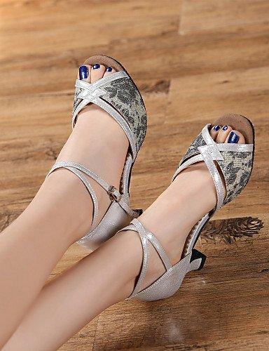 ShangYi Chaussures de danse(Noir / Argent / Or) -Personnalisables-Talon Personnalisé-Similicuir / Paillette Brillante-Latine Gold