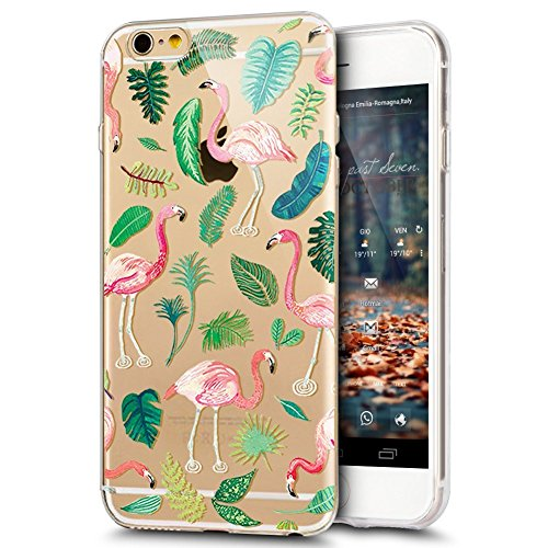 Coque iphone 6S Plus,Coque iphone 6 Plus,iPhone 6S/6 Coque en Silicone Slim Etui Transparent TPU Case Cover,Ukayfe Etui de Protection Cas en caoutchouc en Ultra Slim Silicone Étui avec Flamingos Fleur Feuilles Flamingo