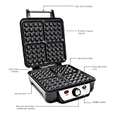 from Andrew James Andrew James Waffle Maker, 4 Slice Belgian Waffle Machine, Adjustable Temperature, Non-Stick, 1100W