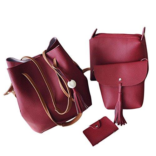 Longra Donne in poliestere Moda di colore solido Zippers cerniera quattro pezzi Rosso