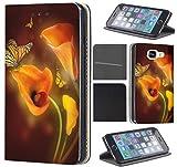 Samsung Galaxy Xcover 3 Hülle von CoverHeld Premium Flipcover Schutzhülle Xcover 3 aus Kunstleder Flip Case Motiv (1456 Schmetterling Blume Gelb Braun)