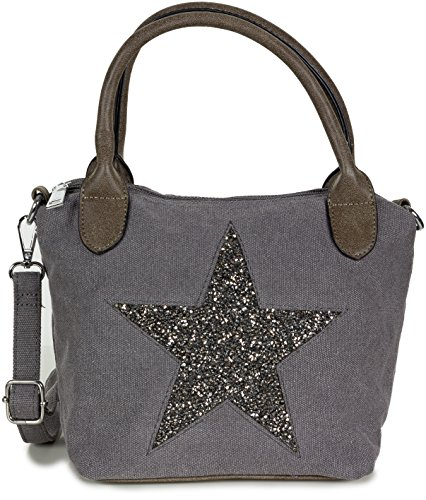Damen Handtasche mit silber Stern Motiv - Umhängetasche aus Canvas Stoff mit verstellbarem Riemen - in dunkelgrau (Stoff-taschen Kleine)
