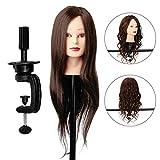 Übungskopf, Luckyfine DIY Haar Design 22'' 30% Braun Friseurkopf Langen Haaren Mannequin Ausbildung Kopf mit Halter