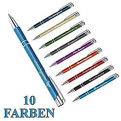 polar-effekt 10 Stück Metall Oleg Kugelschreiber mit Gravur des Namens - Personalisierte Geschenk-Idee Mitbringsel - blau schreibend - Farbe hellblau