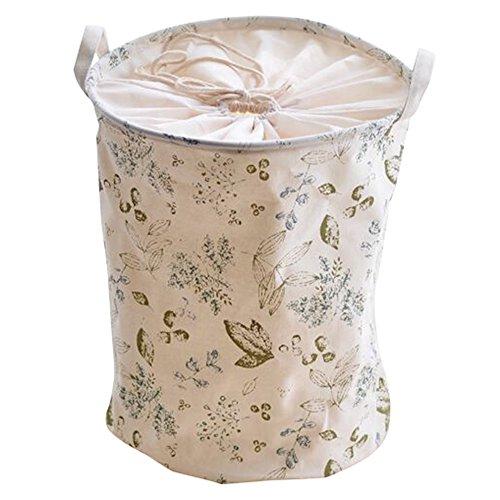 hangnuo cotone e lino pieghevole lavaggio cesto biancheria cesto giocattoli pop-up Organizer Bins Green Flowers