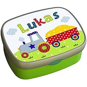 Brotdose Traktor mit Namen, Brotdose Kindergarten, Brotdose Schule, Brotdose Kind, personalisierte Lunchbox Kita, Lunchbox, ginidesign